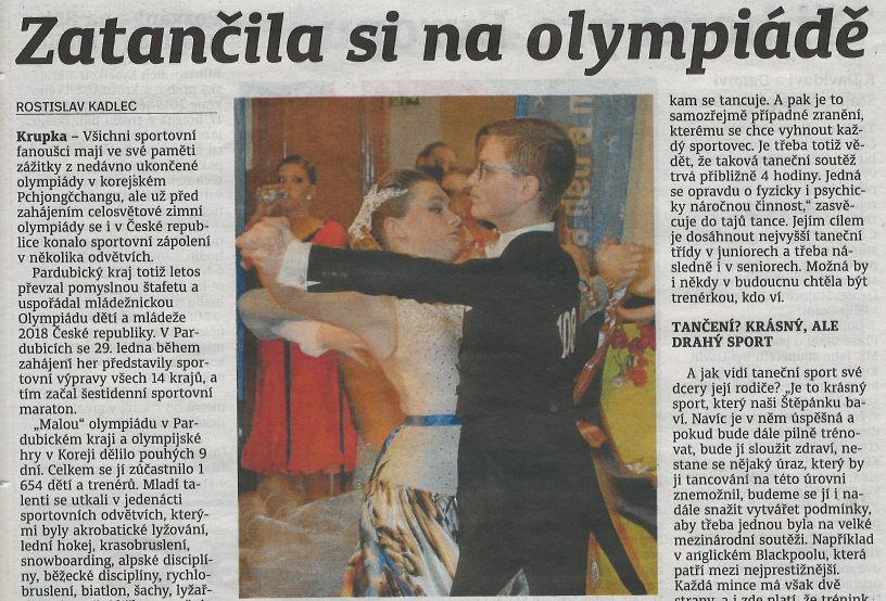 Naši tanečníci z Olympiády v novinách